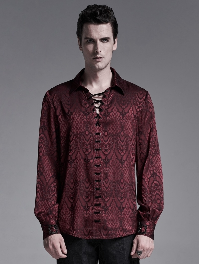 Dark Red Gothic Jacquard Long Sleeve Casual Shirt for Men