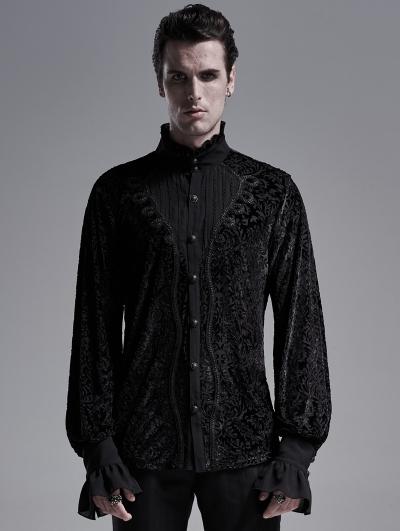 Black Vintage Gothic Palace Long Sleeve Shirt for Men