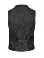 Black Gothic Jacquard Short Vest for Men