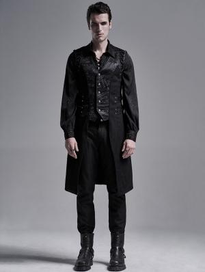 Black Gothic Punk Jacquard Long Vest for Men