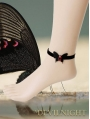 Black Butterfly Red Pendant Gothic Ankle Bracelet