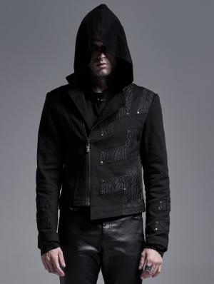 Black Gothic Punk Asymmetrical Placket Short Jacket for Men