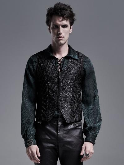 Black Retro Gothic Gentleman Waistcoat for Men