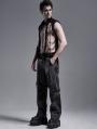 Black Gothic Punk Metal Hollow-out Chain Vest Top for Men