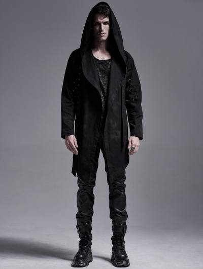 Dark Printed Gothic Punk Casual Hooded Trench Coat for Men