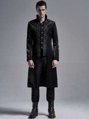 Black Retro Gothic Palace Tailcoat for Men