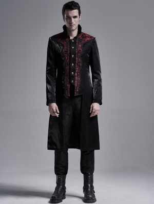 Black and Red Retro Gothic Palace Tailcoat for Men