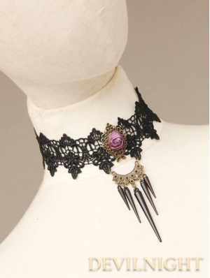 Black Lace Flower Gothic Necklace