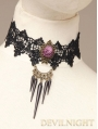 Black Lace Flower Gothic Necklace