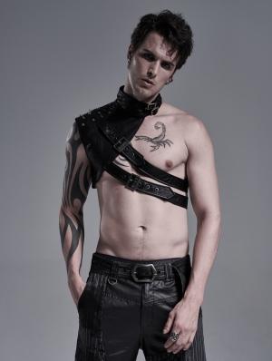 Black Gothic Punk PU Leather Shoulder Armor for Men