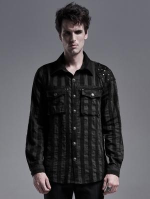 Black Stripe Gothic Steampunk Long Sleeve Shirt for Men