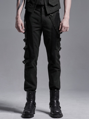 Doomsday Ruins Black and Green Gothic Punk Long Pants for Men