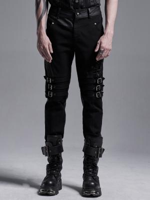 Black Gothic Punk Rivet Long Slim Trousers for Men