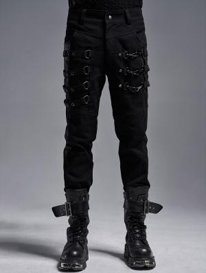 Black Gothic Punk Metal Long Slim Trousers for Men