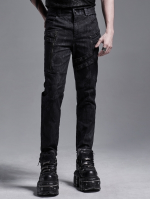 Dark Printed Pattern Gothic Punk Long Slim Trousers for Men