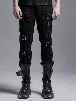 Black Gothic Punk Metal Long Casual Pants for Men