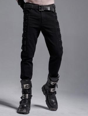 Black Gothic Punk Metal Long Casual Slim Pants for Men
