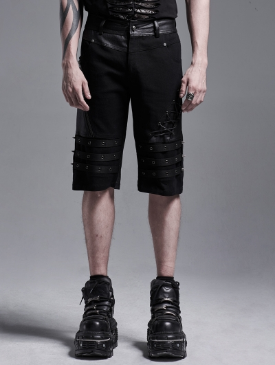 Black Gothic Punk Heavy Metal Shorts for Men
