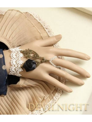 White Lace Black Flower Vintage Lolita Bracelet Ring Jewelry