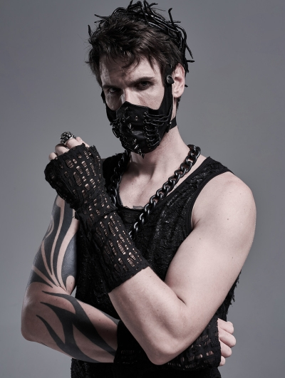 Black Gothic Punk Daily Gloves for Men