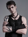 Black Gothic Punk Daily Hole Gloves for Men