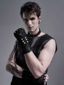 Black Gothic Punk Metal Knitted Rivet Gloves for Men