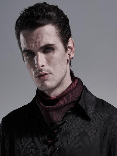 Dark Red Vintage Gothic Scarf for Men