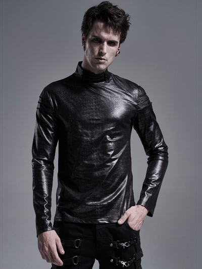 Black Gothic Snake Printed Long Sleeve Casual T-Shirt for Men
