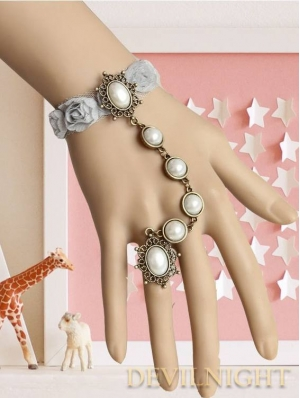 Vintage Rose Lace Pearl Lolita Bracelet Ring Jewelry