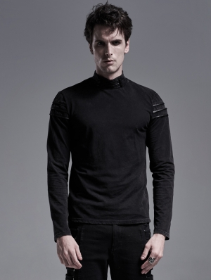 Black Gothic Knitted Long Sleeve Casual T-Shirt for Men