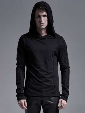 Black Gothic Casual Long Sleeve Hooded T-Shirt for Men