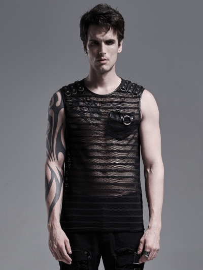 Black Gothic Punk Casual Sleeveless Vest Top for Men
