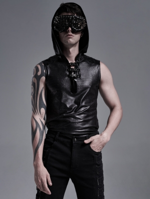 Black Gothic Snake Printed Sleeveless Hooded Casual T-Shirt for Men