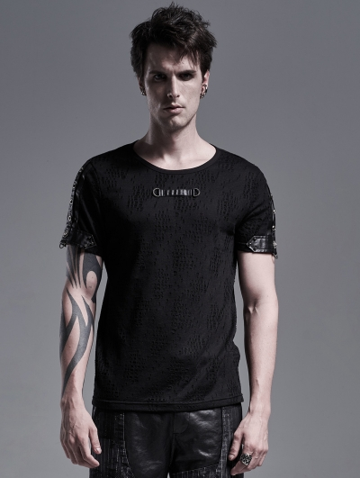 Black Gothic Punk Short Sleeve Casual T-Shirt for Men