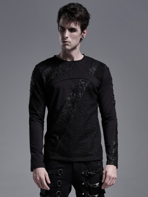 Black Gothic Casual Long Sleeve T-Shirt for Men
