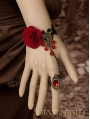 Gothic Black Lace Red Flower Pendant Bracelet Ring Jewelry