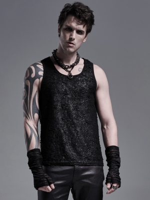 Black Simple Gothic Punk Tank Top for Men