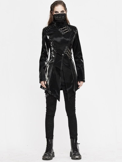 Black Gothic Punk Heavy Metal Mask Long Sleeve PU Jacket for Women