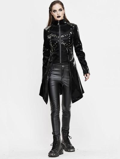 Black Gothic Punk Rivet Splicing Long Sleeve PU Jacket for Women