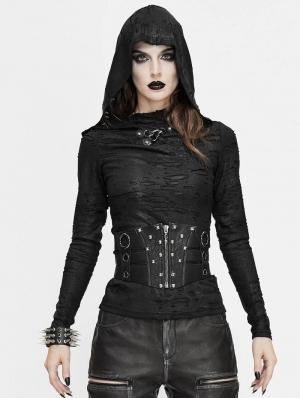 Black Gothic Punk Rivet Wide Waistband for Women