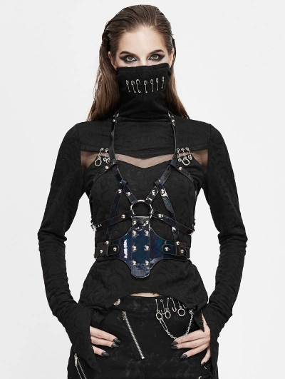 Black Gothic Punk PU Leather Harness Belt for Women