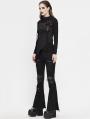 Black Gothic Punk High Neck Long Sleeve Irregular T-Shirt for Women