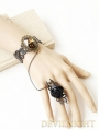 Black Flower Leopard Pendant Gothic Bracelet Ring Jewelry