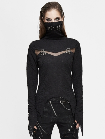 Black Gothic Punk Jacquard Mask Hollowed-out Long Sleeve T-Shirt for Women