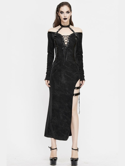 Black Sexy Gothic Off-the-Shoulder Split Long Sleeve Asymmetric Dress