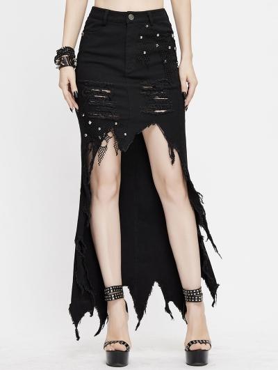 Black Fashion Gothic Punk Irregular High-Low Casual Denim Skirt