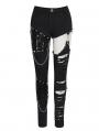 Black Gothic Punk Rock Asymmetric Long Slim Pants for Women