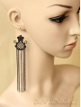 Black Lace Chain Tassel Gothic Earrings