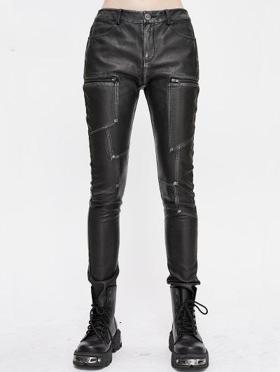 Black Gothic Punk PU Leather Long Slim Pants for Women