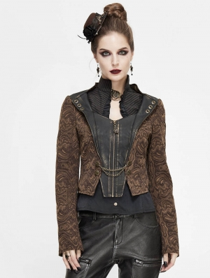 Brown Vintage Steampunk Jacquard Short Jacket for Women